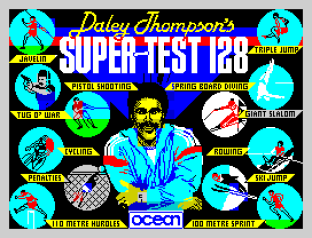 Daley Thompson's Super-Test 128 ZX Spectrum Loading Screen by Ocean Software