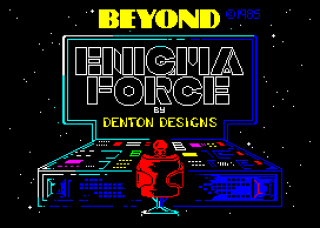 Beautifully simple Enigma Force ZX Spectrum Loading Screen, by Beyond Software