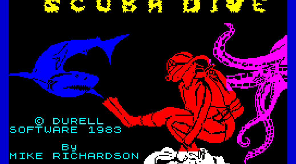 Scuba Dive by Mike Richardson for Durrell, Software 1983, ZX Spectrum Loading Screen