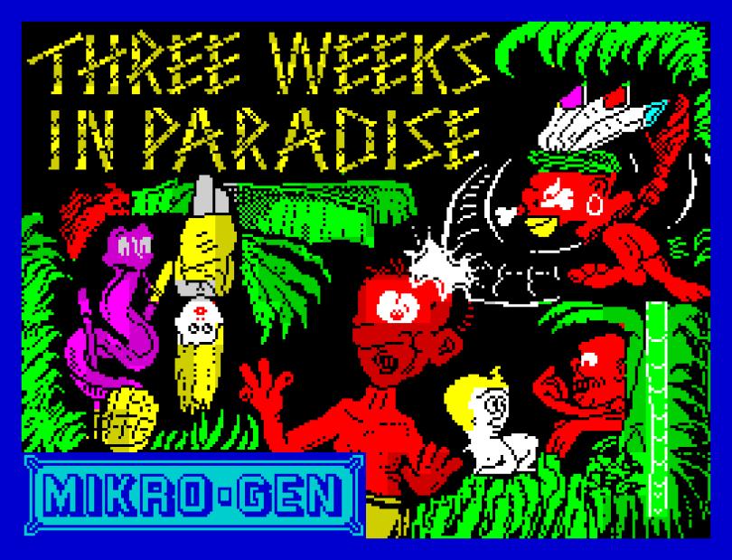 Three Weeks In Paradise by Mikro-Gen, ZX Spectrum Loading Screen