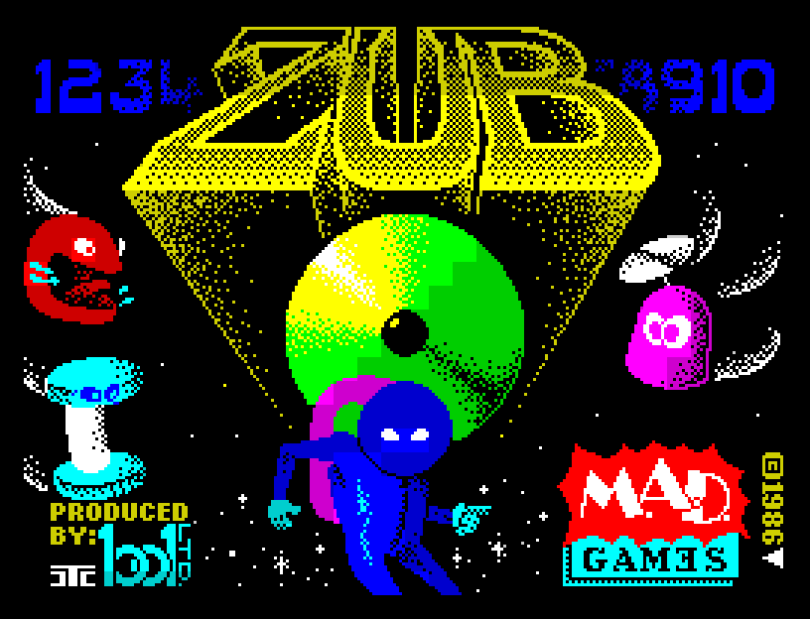 Zub by Mastertronic Added Dimension, ZX Spectrum Loading Screen