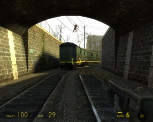 A Fast Zombie jumps down from the train carriage. I think it's coming for me.