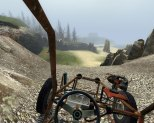 Driving a rickety buggy over the beach hills.