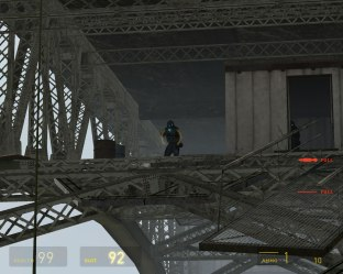 You are constantly being attacked by Combine soldiers are you try to cross the bridge.