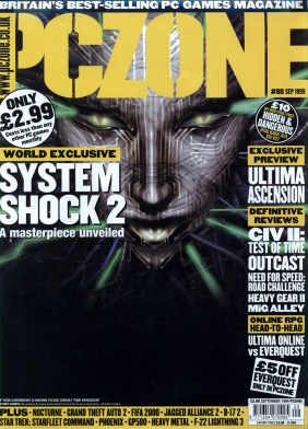 Cover for PC Zone issue 80, September 1999. System Shock 2 world exclusive review.