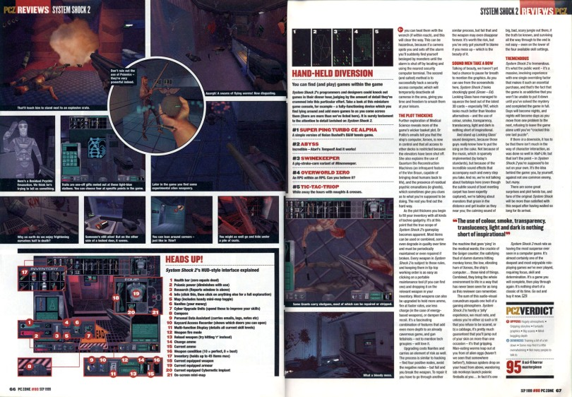 The final spread of my six-page, world exclusive review of System Shock 2 in PC Zone magazine, September 1999.