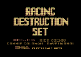 Racing Destruction Set Commodore 64 title screen.