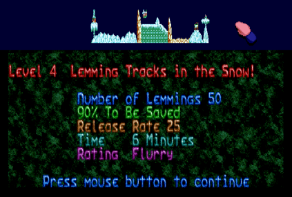 Holiday Lemmings 1993 Amiga 12