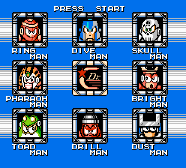 Mega Man 4 NES Baddies Wide